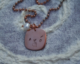 AVO Necklace, Copper and Freshwater Pearl Necklace