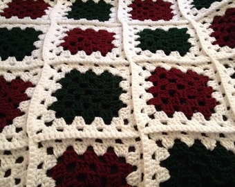 "Crochet ""Quilt""; Baby Blanket; white, dark green, dark red/burgundy"