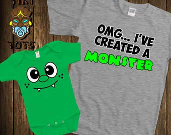 Funny I've Created A Monster Matching T-shirts Cute Family Gift Set For Dad Daddy Mommy Baby Bodysuit Toddler Youth Shower Father's Day