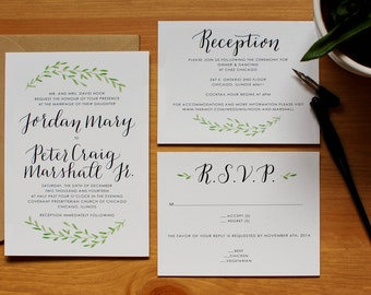 Custom Calligraphy Wedding Invitation Set