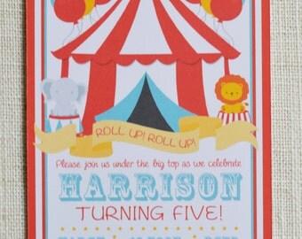 "Kids Circus birthday invitation! Digital file, 6x4"" personalised"