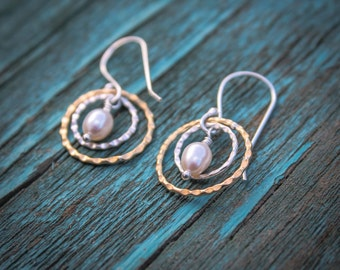 Bronze and Sterling Silver Crimped Earrings With Fresh water Pearls