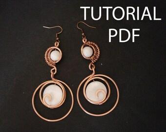 Tutorial earrings, tutorial in handmade, jewelry tutorial, copper wire tutorial, wire wrapped tutorial, wire wrap tutorial, jewellery pdf