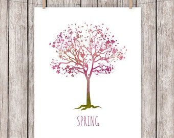 Spring Tree Art Print, Pink Flowers, Painted, Paint, Four Seasons Wall Art  8 x 10 Instant Download