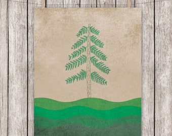 Nature Tree Printable Pinetree Outdoors Green Wall Art, 8 x 10 Instant Download