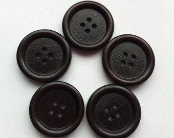 "10 Wood Buttons 25mm Wooden Buttons 1"" inch Wood Button Dark Brown Espresso Large Sewing button Embellishments Sewing Notions Craft Supplies"