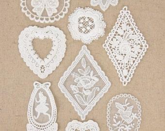 2 pcs of Cotton Lace Applique, White, 10 Patterns available, btz