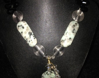 Onyx and Spotted Jasper necklace