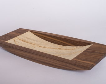 Wooden bowl in walnut with bottom in real sandstone