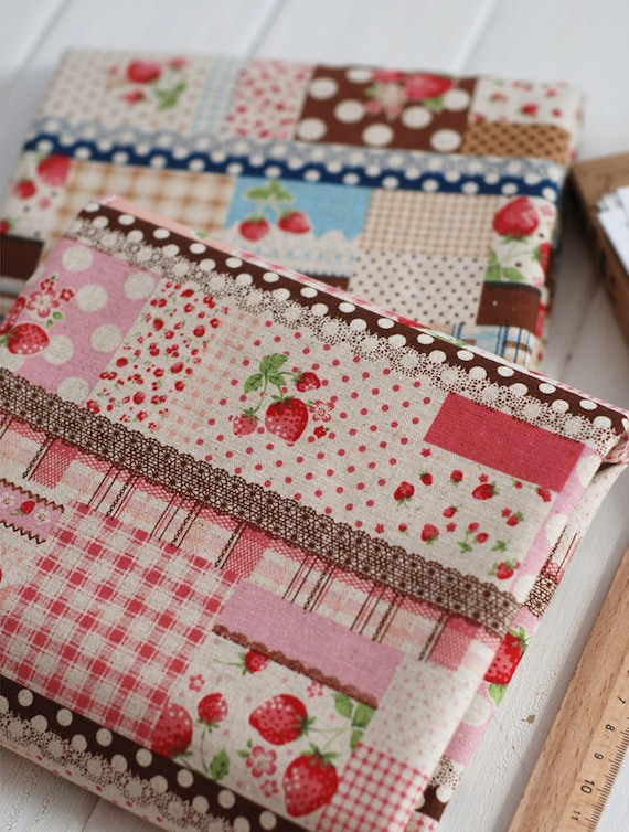 Retro lace and strawberry pattern cotton linen fabric home