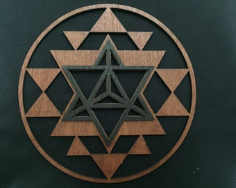 Sri Yantra/Merkaba Wall Art- stained red and black on birch plywood