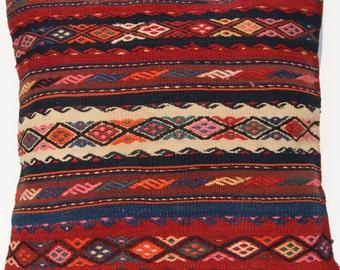 "Home decor Kurdish pillow  cover wool Kilim square area rug 24"""