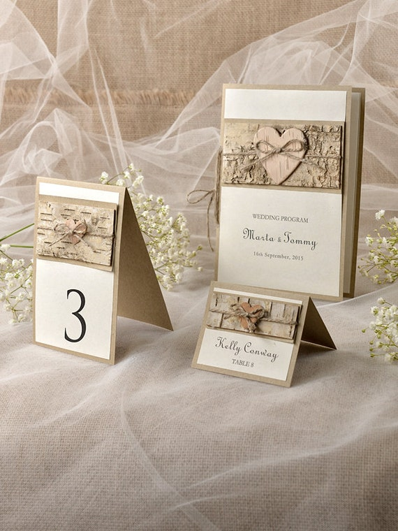 Custom listing 10 Rustic Set, Wood Wedding Programs, Recycled Table Number, Rustic Escort Card, Birch Place Card,