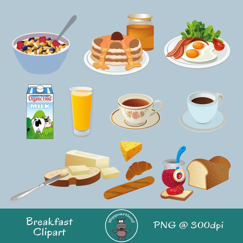 Breakfast Clipart. Eggs Coffee Bread Juice Pancake by ...