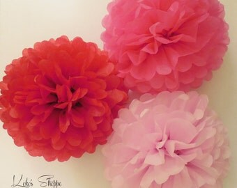 DOLLAR SALE!! 10 inch Tissue Pom Poms in Light Pink, Pink, Red