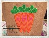 Instant Download Monogram Carrot Trio Applique Design -  Easter Applique Design