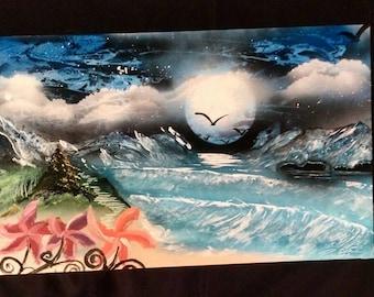 spraypaint art mountain scene nature spacenature spray paint art spray art OCEAN VIEW MOUNTAINS
