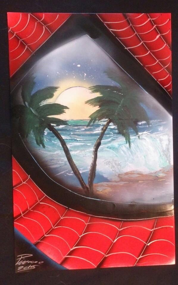 spray paint art nyc spiderman on vacation face spiderman. Black Bedroom Furniture Sets. Home Design Ideas
