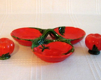 Divided Dish with Salt and Pepper Shakers in Tomato Pattern