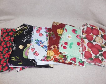 Destash-  9 Pieces of Food Themed Cotton Quilters Fabric Remnants