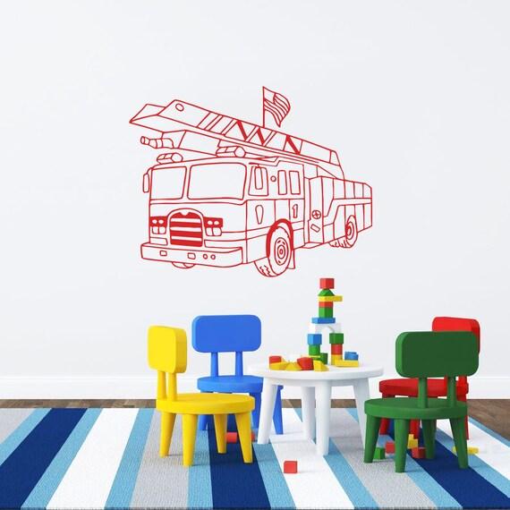 fire truck wall decal vinyl sticker decals art by fire truck wall decals amp wall stickers zazzle