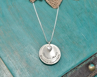 Necklace for Mom   Sterling Silver personalized mothers necklace with kids names and heart charm   2 disc necklace