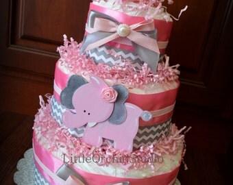 Pink Chevron Safari Diaper Cake/ Elephant diaper cake/ Pink Elephant/ Safari Baby Shower/ Girl Safari/ Baby Shower Centerpiece/ Decorations