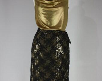 SALE Gold knit cowl tank