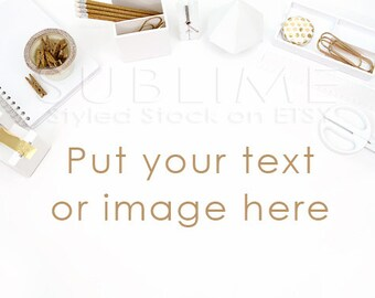 Styled Stock Photography /  Gold Office Accessories / Desktop / Mock up / Styled Photo / Stock / White Background / Gold / StockStyle-404