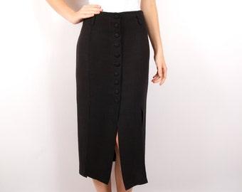 Black Midi Womens Skirts High Waist Linen Blend Straight Splits Skirt Button Front Size Small
