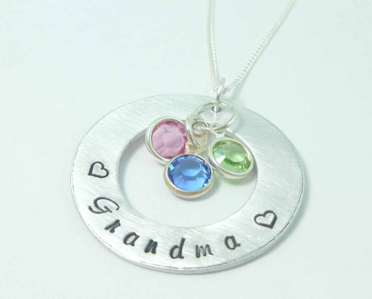 Personalized grandma washer necklace with crystals christmas for Grandmother jewelry you can add to