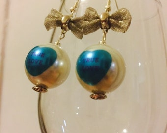 Valentine's Day Candy Hearts True Love Pearl with Bow Dangle Earrings
