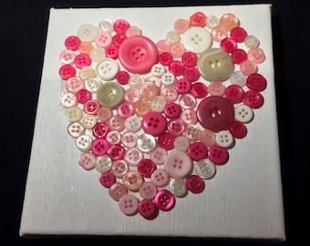 Children's 3D Pink Button Love Heart Canvas Wall Hanging Handmade