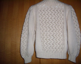 Hand, off-white wool, lace, 2008 pattern knitted sweater
