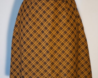 Vintage Plaid Skirt Brown Small Medium Skirt