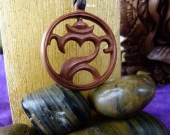 Balinese Om Necklace - Wood necklace Bali Om - Wooden Necklace Hand crafted - Om Yoga Necklace - Bali Yoga Om Jewelry - Z050