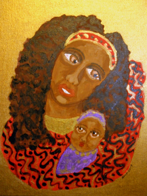 Acrylic Painting Born Is The King, Madonna Ethnic Folk Art women of color, Black Madonna African American Mother 11x14 framed canvas panel