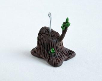 Tree Stump Ornament -- Miniature Polymer Clay Jesse Tree Ornament -- Stump of Jesse