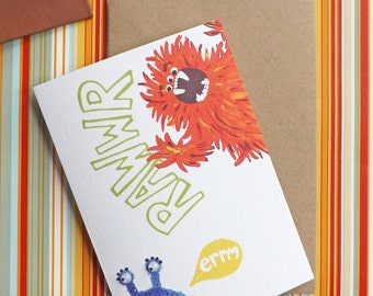 Rawwr Monster Googly Eye A6 Greeting Card