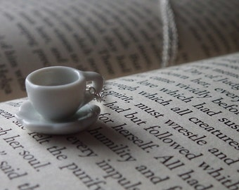 Teacup Necklace - White