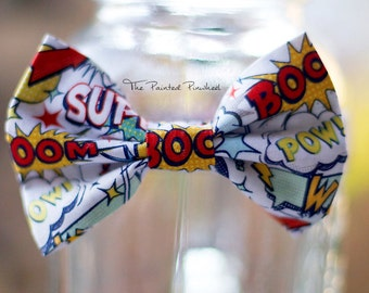 Comic Words Theme Patterned Bow, Bow Tie, Pocket Square