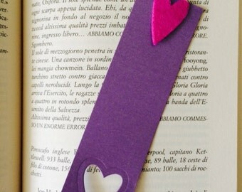 Customizable bookmark made with opalescent cardboard and felt heart