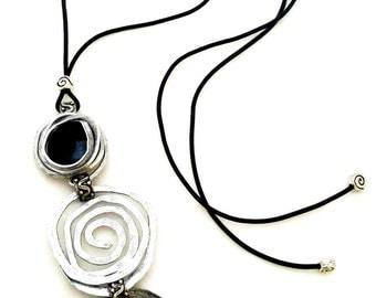 Long Pendant Necklace, Black Leather Necklace, Spiral Shape Pendant, Black Stone Pendant, Statement Large Necklace, Big Pendant Necklace.