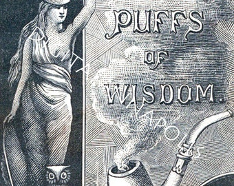 Vintage Advertisinf Puffs of Wisdom tobacciana pipe P. Lorillard and Co. Image 300 dpi jpg Digital Download Printable Clip Art 19th Century