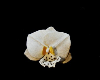 Felted Ivory Orchid brooch Flower brooch Felt flower pin