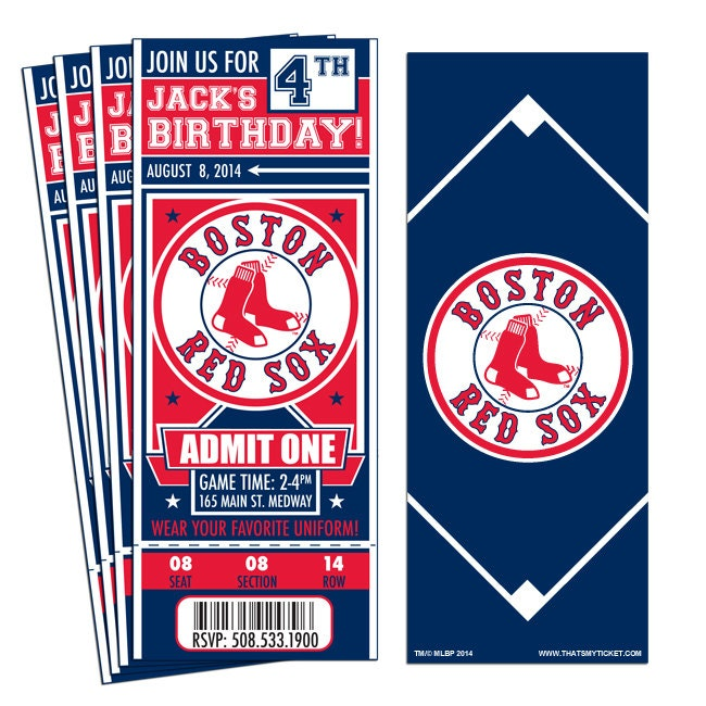 12 Boston Red Sox Custom Birthday Party Ticket by ...