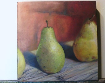 tree pears ,oil painting , hand made , great wall decor , kitchen decor