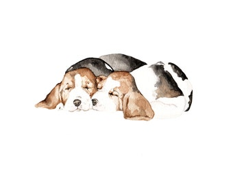 Beagle Puppies Limited Edition Print  8.5x11 Watercolor Dogs