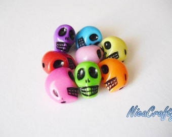 20 PCS Mixed Skull Spacers Beads 13 mm