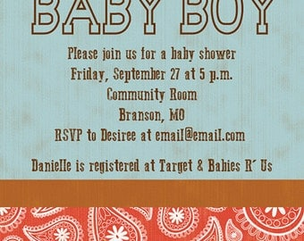 Country Theme Paisley Baby Shower Invitation Digital Printable - any color, any gender